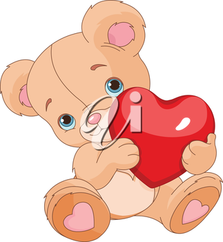 Royalty Free Clipart Image of a Teddy Bear Holding a Heart