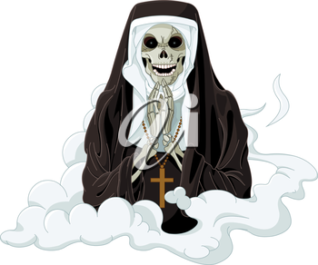 Illustration of Halloween horror nun
