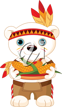 Illustration of cute Bear wears Native American costume