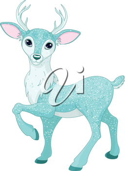 Christmas illustration of magical sparkly reindeer