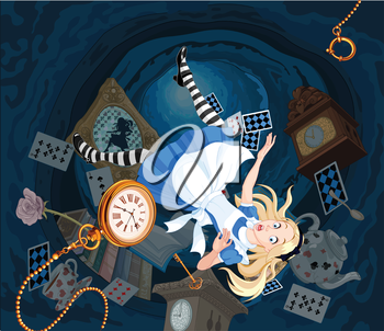 Alice is falling down into the rabbit hole