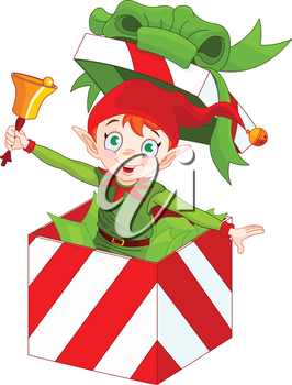 Illustration of elf popping out of a Christmas box and ringing in a bell