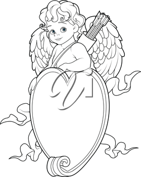 Coloring page of baby Cupid over a heart shape sign