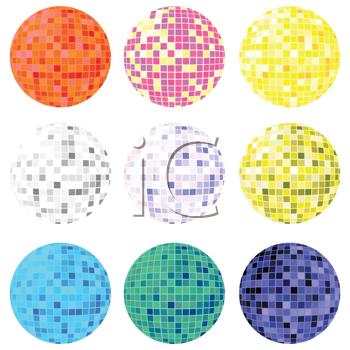 Royalty Free Clipart Image of a Collection of Disco Balls