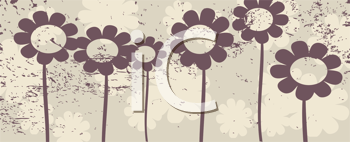 Royalty Free Clipart Image of Deco Flowers in a Row