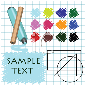 Royalty Free Clipart Image of a Card With Paints, Shapes and Colours