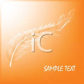 Royalty Free Clipart Image of a Floating Feather on Orange With Space for Sample Text