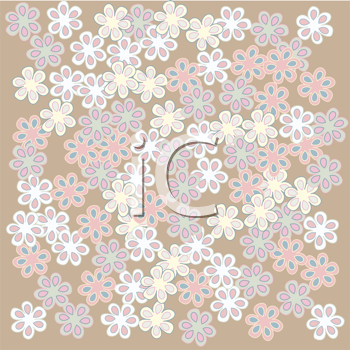 Royalty Free Clipart Image of Flowers on a Tan Background