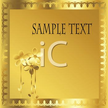 Royalty Free Clipart Image of a Golden Frame Card With Flowers in the Corner