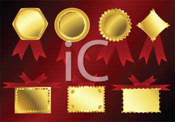 Royalty Free Clipart Image of a Gold Ribbon Collection