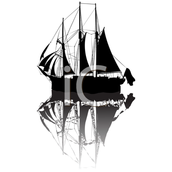 Royalty Free Clipart Image of a Sailing Boat in Silhouette