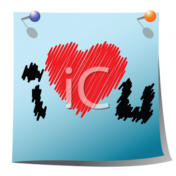 Royalty Free Clipart Image of a Grungy I Heart You Message