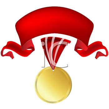 Royalty Free Clipart Image of a Gold Medal With a Red Banner