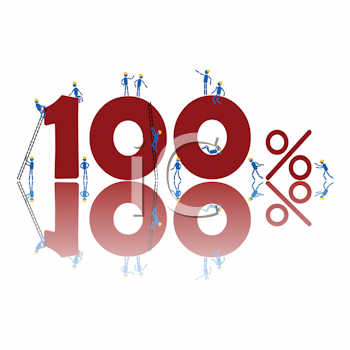 Royalty Free Clipart Image of a 100 Per Cent With People Around and On It