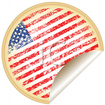 Royalty Free Clipart Image of a United States of America Flag Sticker