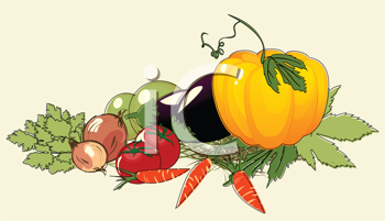 Illustration with bunch of vegetables