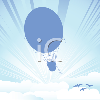 Hot air balloon silhouette on clouds background
