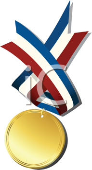 Realistic gold medal and ribbon, isolated objects over white background