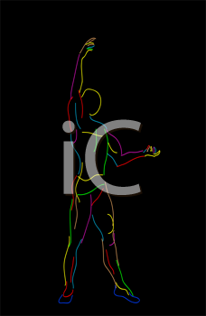 Stylized sketch of a graceful ballet dancer, isolated objects over black background