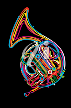 Stylized french horn against white background.