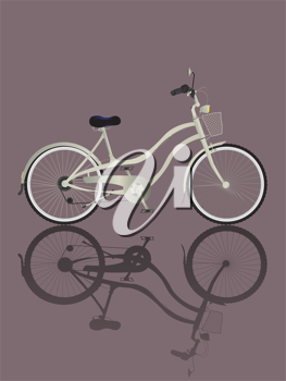 Illustrated retro bicycle and reflection.
