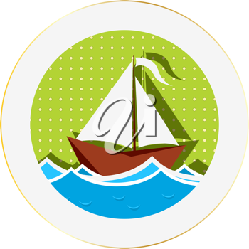 Sailing boat sticker against white background