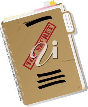 Top secret folder with files, notes and papers, isolated and grouped objects over white background, no mesh or transparencies used.