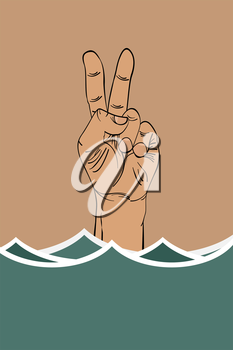 Ironic victory sign of a drowning hand