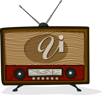 Retro style cartoon radio  drawing over white background