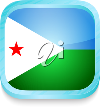 Smart phone button with Djibouti flag