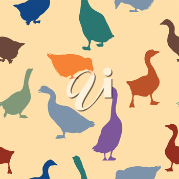 Seamless patern design with geese silhoueetes in colors