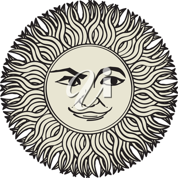 Vector sun ornament, tattoo