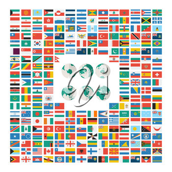 Vector set of the world flags in flat style over white background