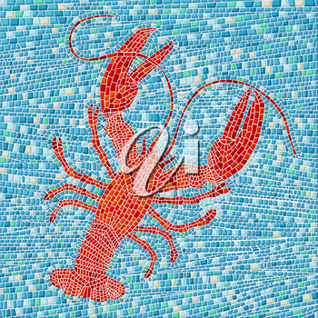 Red lobster mosaic, vector illustration