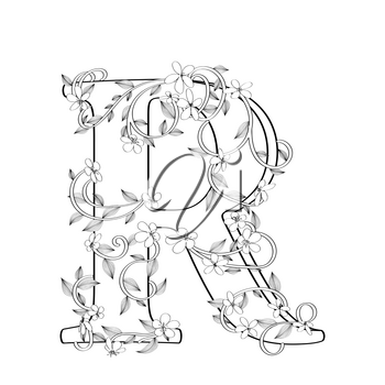 Letter R floral sketch over white background