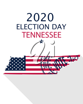 2020 United States of America Presidential Election Tennessee vector template.  USA flag, vote stamp and Tennessee silhouette