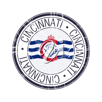 City of Cincinnati, Ohio postal rubber stamp, vector object over white background
