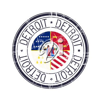 City of Detroit, Michigan postal rubber stamp, vector object over white background