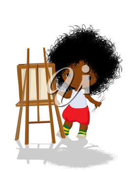 Little girl artist with easel and brushes, vector isolated over white