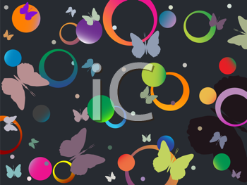 Royalty Free Clipart Image of a Butterfly and Bubble Background