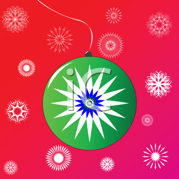 Royalty Free Clipart Image of a Christmas Ornament With Snowflakes in the Background