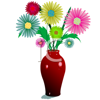 Royalty Free Clipart Image of Flowers in a Vase
