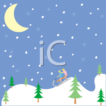 Royalty Free Clipart Image of Kids Playing in the Snow At Night