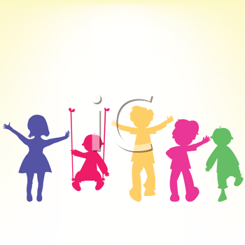 Royalty Free Clipart Image of Playing Children