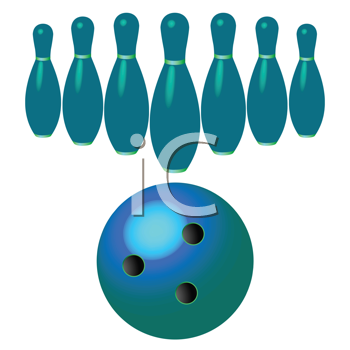 bowling pins and ball isolated on white background, abstract vector art illustration