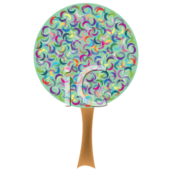 retro tree isolated on white background, abstract vector art illustration