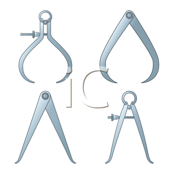 different tipes of calipers against white background, abstract vector art illustration