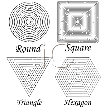 four mazes shapes against white background, abstract vector art illustration