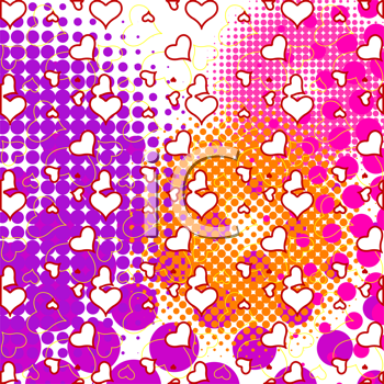 hearts and half tone bubbles pattern, abstract vector art illustration