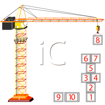 hopscotch building concept and crane against white background, abstract vector art illustration